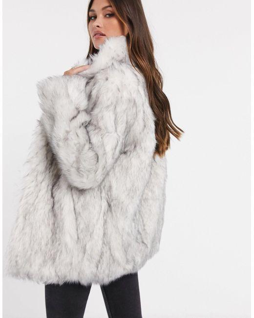 Белое Пальто С Воротником Из Искусственного Меха ASOS, цвет: Gray