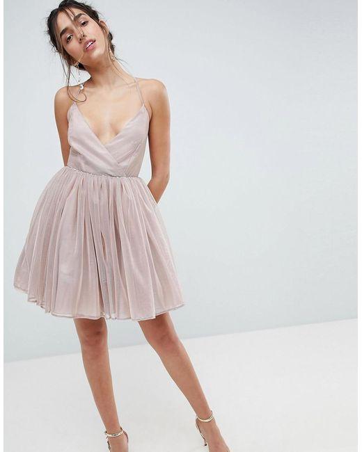 26a382888982 ASOS - Pink Asos Metallic Tulle Mini Dress - Lyst ...