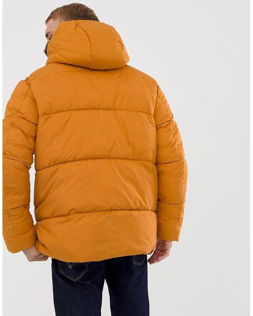 hot sale online 9a00d 8dee0 Men's Orange Core Puffer Coat In Drop Shoulder Fit