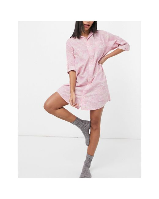 Ночная Рубашка С Принтом Пейсли -многоцветный Lauren by Ralph Lauren, цвет: Pink