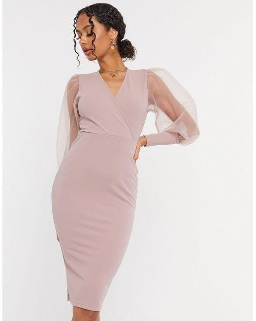 Светло-розовое Платье С Рукавами Из Тюля -серый AX Paris, цвет: Gray