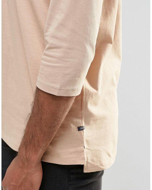 jack jones jack and jones 3 4 sleeve t shirt in beige. Black Bedroom Furniture Sets. Home Design Ideas