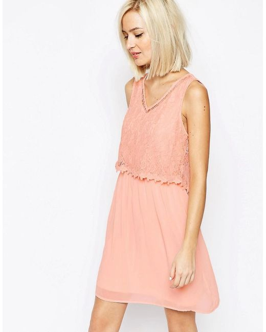 Vero Moda | Pink Lace Detail Dress | Lyst
