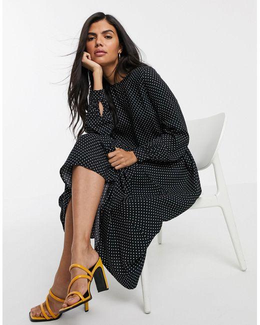Ярусное Платье Миди В Горошек -черный Warehouse, цвет: Black