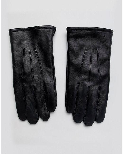 Gants pour écran tactile - Cuir noir ASOS pour homme en coloris Black