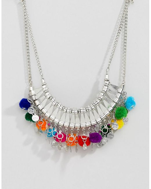 ASOS DESIGN - Metallic Statement Engraved Collar Necklace With Pom Poms - Lyst