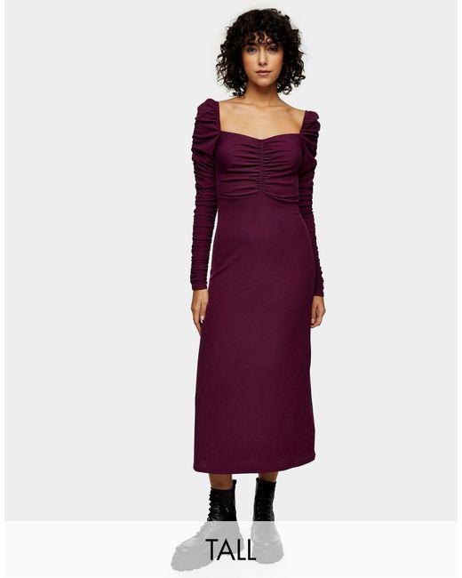Темно-фиолетовое Платье Миди Со Сборками И Длинными Рукавами -фиолетовый TOPSHOP, цвет: Purple