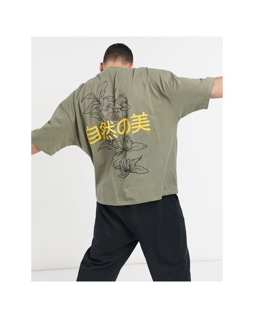 Camiseta caqui extragrande con estampado ASOS de hombre de color Green