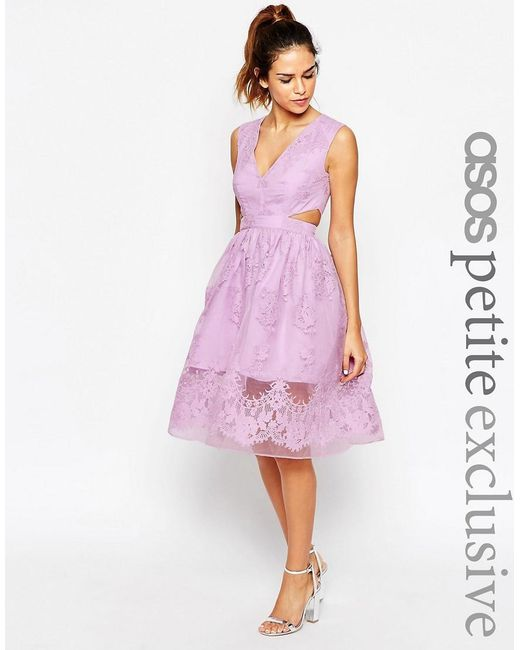 ASOS | Purple Petite Prom Dress With Floral Embroidery And Cutout Detail | Lyst