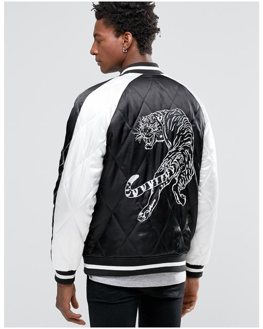Asos Bomber Jacket With Tiger Embroidery In Black In Black