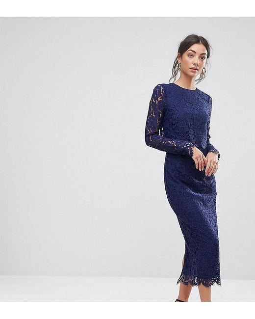 Asos Blue Wedding Lace Long Sleeve Midi Pencil Dress Lyst