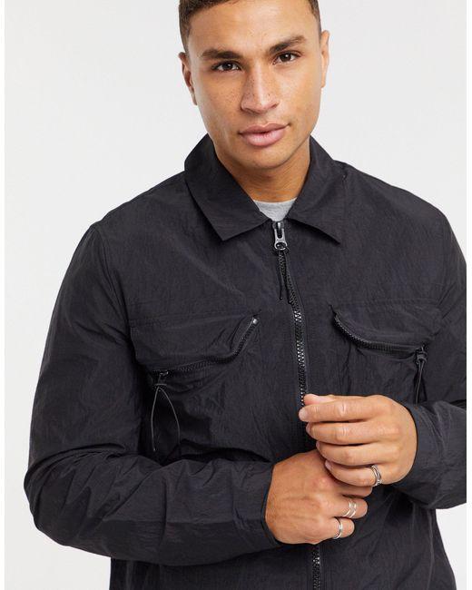 Черная Стеганая Куртка С Нагрудным Карманом ASOS для него, цвет: Black