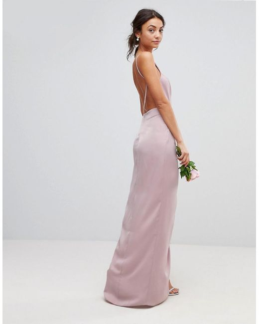 f3ba9d6e28b ... ASOS - Pink Asos Design Tall Drape Front Strappy Back Maxi Dress - Lyst
