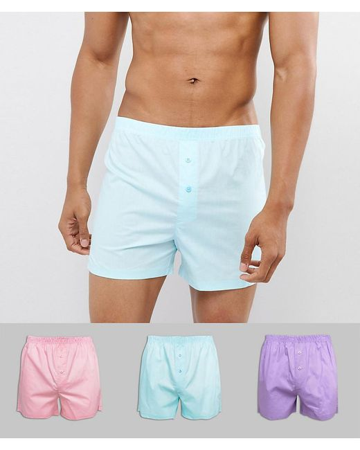 ASOS - Woven Boxers In Pinks & Blue 3 Pack for Men - Lyst