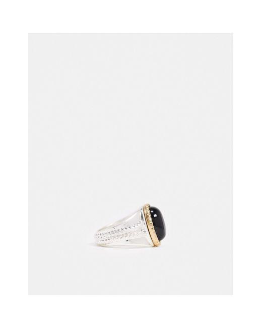 Кольцо-печатка С Черным Камнем -мульти Icon Brand для него, цвет: Multicolor