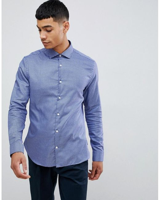 73dc367930 Moss Bros - Blue Moss London 100% Cotton Long Sleeve Skinny Shirt In  Houndstooth Print ...