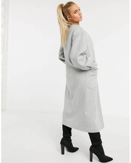 Серое Пальто Без Застежки С Пышными Рукавами -серый Helene Berman, цвет: Gray