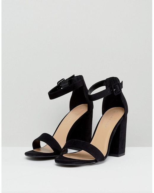 758f28f3f99 New Look Barely There Block Heeled Sandal in Black - Lyst