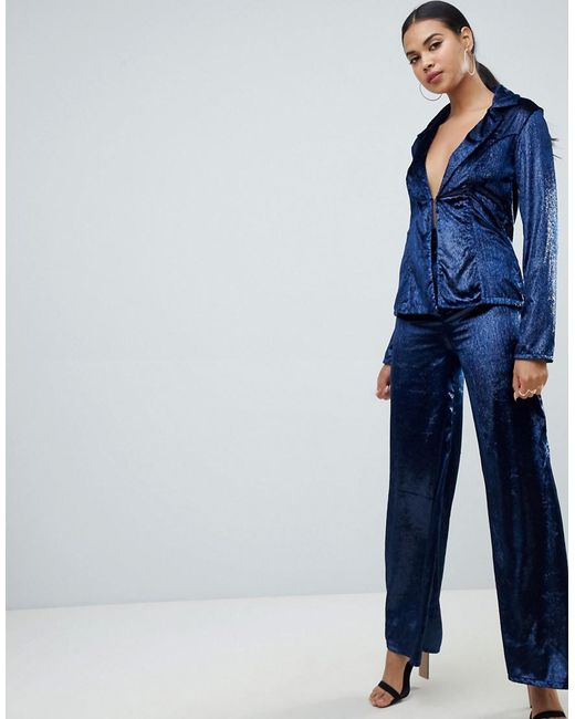 Club L - Blue Metallic Velvet Trouser - Lyst