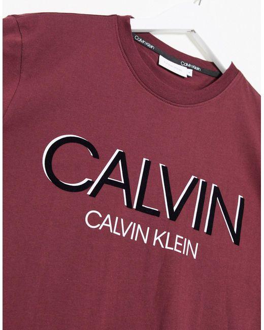 Бордовая Футболка С Логотипом Эксклюзивно Для Asos-красный Calvin Klein для него, цвет: Red