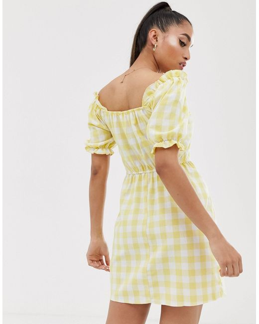 Robe en lin à manches bouffantes - Carreaux jaunes Miss Selfridge en coloris Yellow