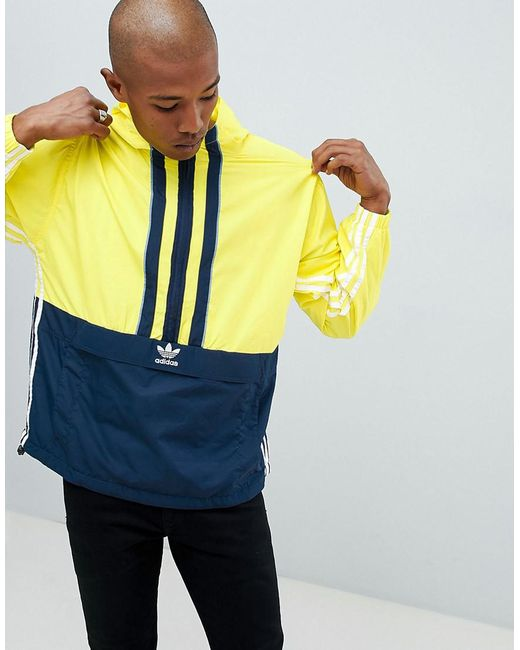 Adidas Originals - Authentic Overhead Windbreaker In Yellow Dh3842 for Men - Lyst