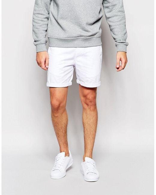 Asos Slim Chino Shorts In White in White for Men | Lyst