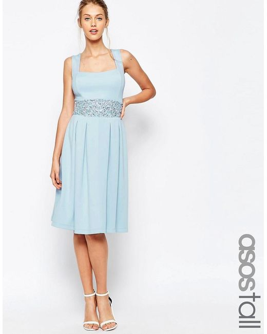 ASOS | Blue Tall Debutante Embellished Trim Full Midi Dress | Lyst