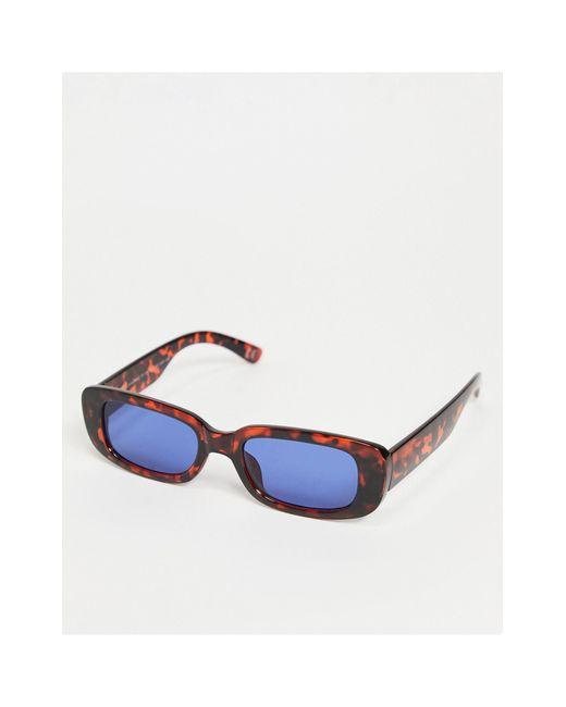 Солнцезащитные Очки В Черепаховой Оправе Скругленной Прямоугольной Формы С Синими Линзами ASOS для него, цвет: Brown