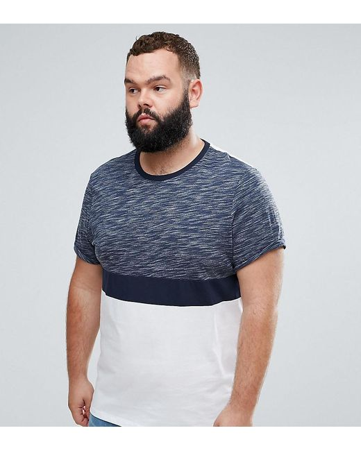 ASOS - Blue Plus T-shirt With Roll Sleeve In Inject Colour Block In Navy for Men - Lyst