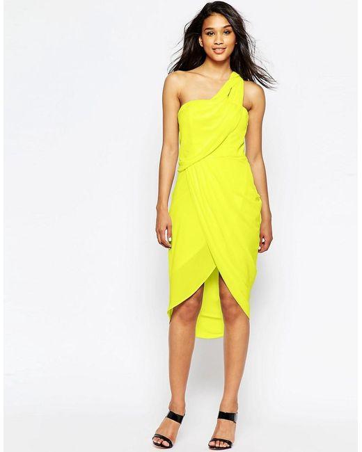 ASOS | Green Asymmetric One Shoulder Drape Midi Dress | Lyst