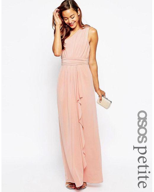 ASOS | Orange Petite Wedding One Shoulder Sexy Slinky Maxi Dress | Lyst