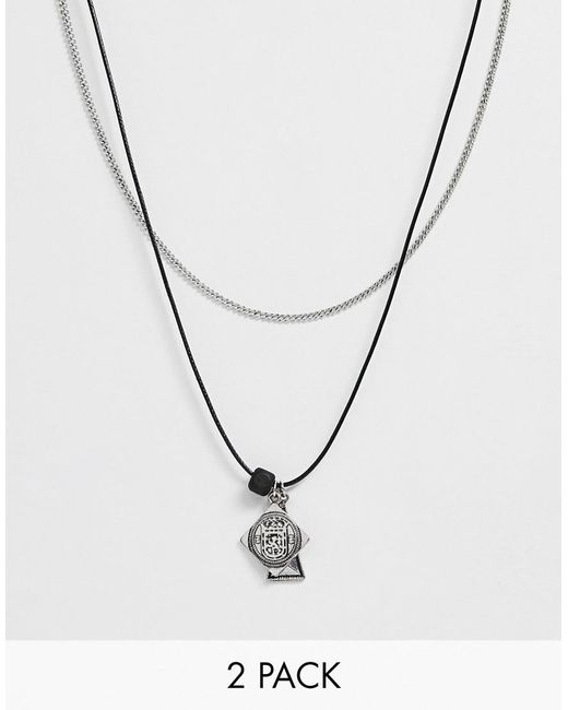 Bershka Metallic 2-pack Multi Pendant Necklace In Silver And Cord for men