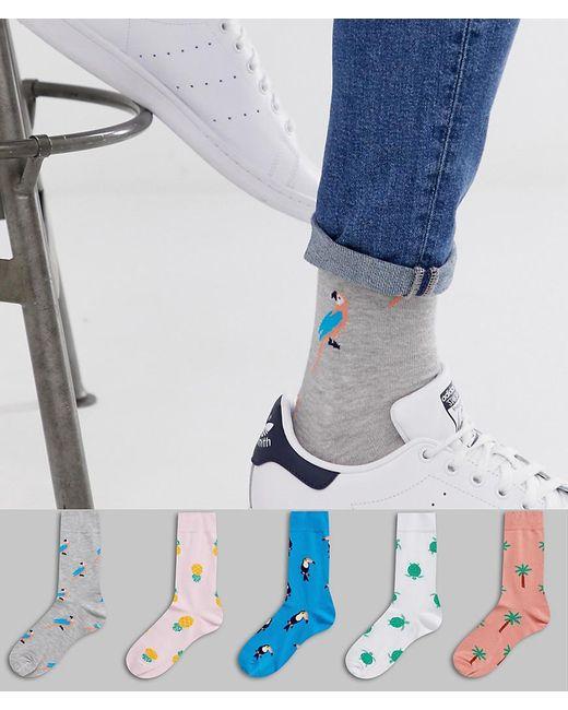 ASOS Multicolor 5 Pack Ankle Socks With Summer Bird Design Save for men