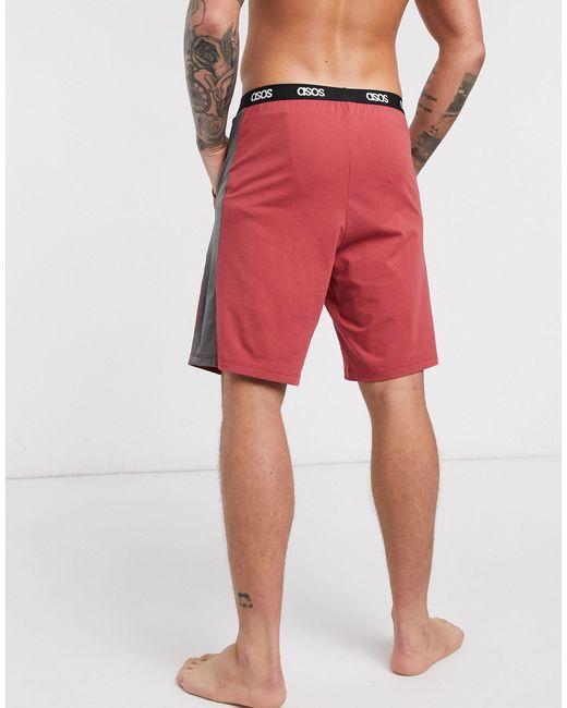 Бордовые Пижамные Шорты С Сетчатыми Боковыми Вставками ASOS для него, цвет: Red