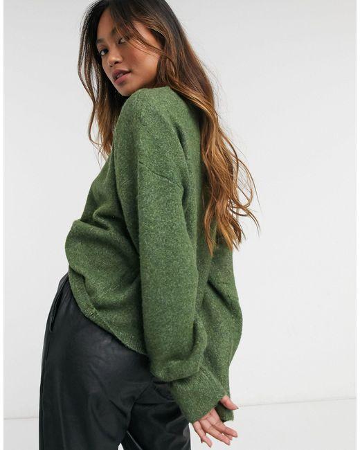 Maglione squadrato color verde scuro di Vero Moda in Green