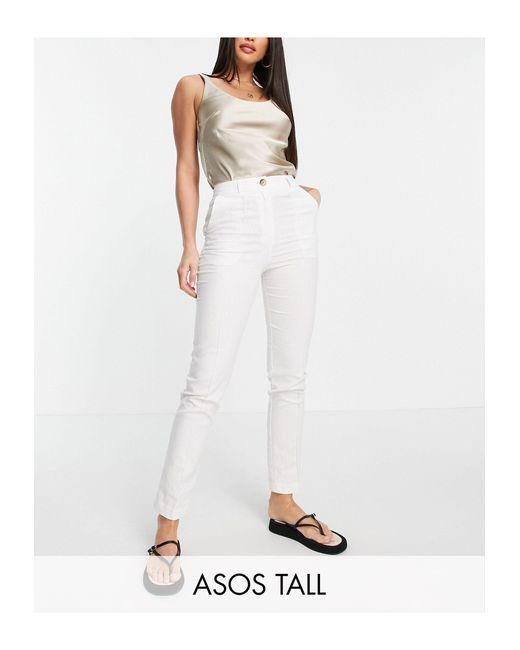 Pantalones cigarette ASOS de color White