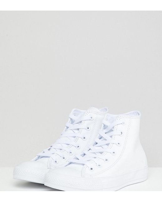 393bc51811b1 Lyst - Converse Chuck Taylor White Leather High Top Sneakers in White