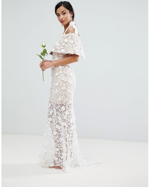 All Over Embroidered Lace Maxi Dress With Tie Shoulder Detail