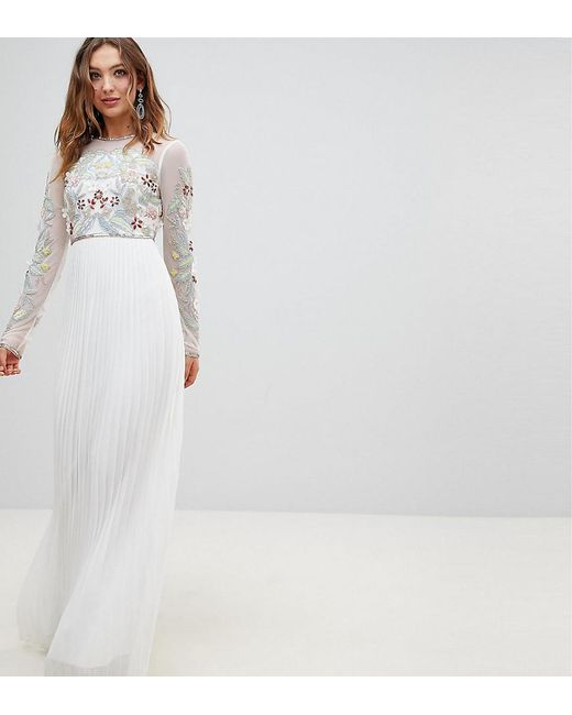 f86c6401f55 Frock and Frill - White Premium 3d Applique Top Maxi Dress With Pleated  Skirt - Lyst ...
