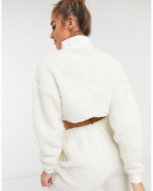 Удобный Флисовый Комплект Одежды Для Дома Из Двух Частей С Воротником-стойкой И Молнией ASOS, цвет: White
