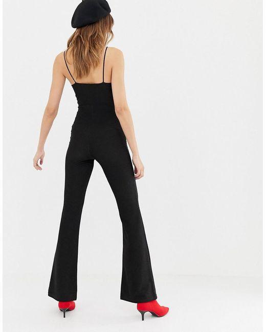 performance sportswear choose latest cozy fresh Women's Black Glitter Wide Leg Jumpsuit