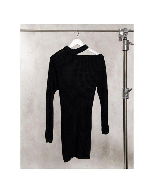 Черное Платье-джемпер С Вырезом На Одном Плече -черный AX Paris, цвет: Black