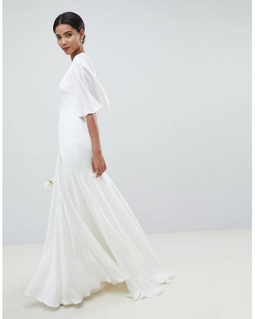 Lyst - Asos Wedding Dress With Open Back And Flutter Sleeve in White
