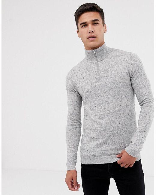 c686bd7ca359 ASOS Turtleneck Sweater With Zip In Gray Marl in Gray for Men - Lyst