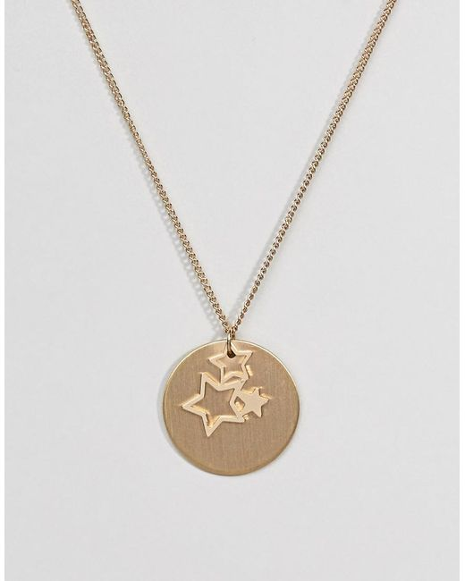 Pieces - Metallic Gold Star Trio Necklace - Lyst