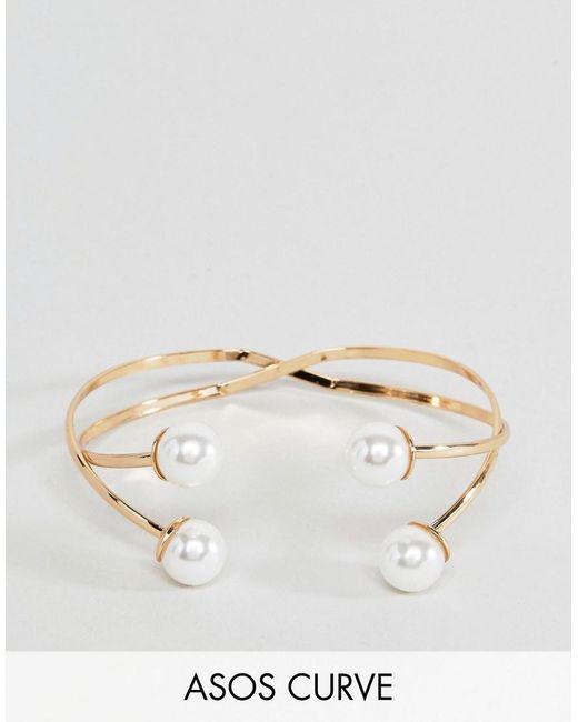 ASOS | Metallic Double Pearl Cuff Bracelet | Lyst