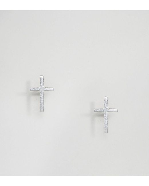 Kingsley Ryan | Metallic Sterling Silver Cross Stud Earrings | Lyst