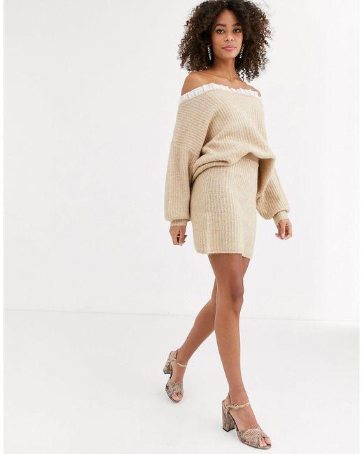 Бежевая Вязаная Мини-юбка -мульти Never Fully Dressed, цвет: Natural