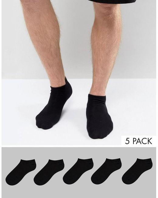 ASOS   Sneaker Socks In Black 5 Pack Save for Men   Lyst